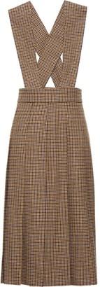 Miu Miu Houndstooth Pleated Midi Dress