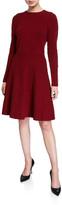 Lela Rose Textured Knit Long-Sleeve Full-Skirt Dress