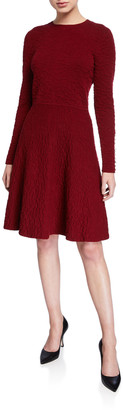 Lela Rose Textured Knit Long-Sleeve Full-Skirt Dress