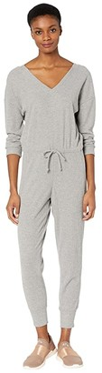 Chaser Love Rib Long Sleeve Double V Drawstring Jumpsuit (Heather Grey) Women's Jumpsuit & Rompers One Piece