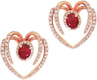 Diana M Fine Jewelry 14K 1.34 Ct. Tw. Diamond & Ruby Ear Jackets