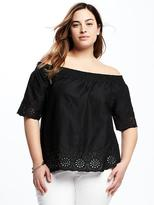 Old Navy Plus-Size Off-the-Shoulder Cutwork Top