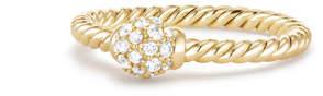 David Yurman 5mm Solari 18K Gold Diamond Station Ring, Size 6