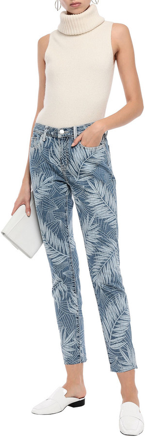 Thumbnail for your product : Current/Elliott Frayed Printed Mid-rise Slim-leg Jeans