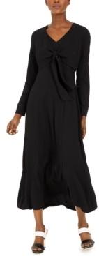 Calvin Klein Long-Sleeve Tie-Front Maxi Dress