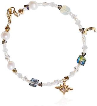 Valerie Chic Gold Coast Pearl Moon Star Bracelet 18K Gold
