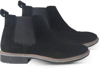 Curito Clothing Curito London Mens Suede Leather Chelsea Boots - Black