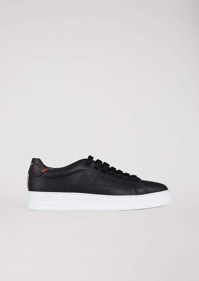 Emporio Armani Sneakers In Nubuck-Effect Microfibre
