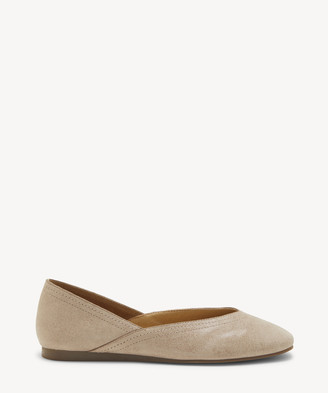 Lucky Brand Women's Alba V Cut Flats Titanium Size 5 Leather From Sole Society