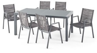 Christopher Knight Home Lazuli Outdoor Modern 6 Seater Aluminum Dining Set with Tempered Glass Table Top