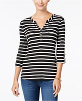 Charter Club Striped Utility Henley Top, Only at Macy's