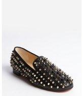 Christian Louboutin black leather spike studded flats
