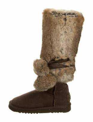 Australia Luxe Collective Fur Pom-Pom Embellishments Boots Brown