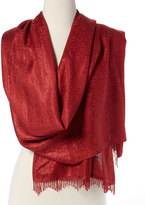 Cejon Red Beaded Jaquard Scarf