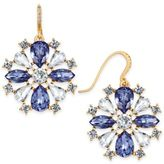 Charter Club Gold-Tone Clear & Blue Crystal Drop Earrings, Only at Macy's