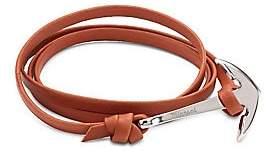 Miansai Men's Anchor Sterling Silver & Leather Bracelet
