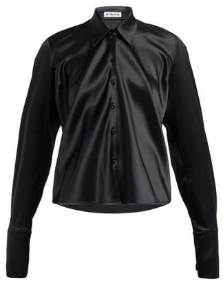 Balenciaga Point-collar Satin Blouse - Womens - Black