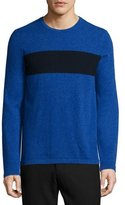 Vince Cashmere-Blend Striped Crewneck Sweater, Blue