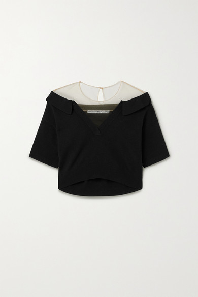Cropped Tulle trimmed Wool blend Sweater Black
