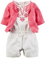 Carter's Baby Girl Embroidered Romper & Cardigan Set