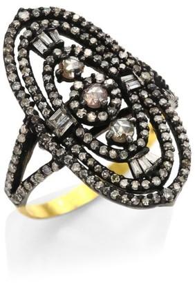 Bavna 14K Yellow Gold Diamond Cocktail Ring
