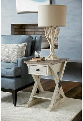 Wesley Trestle End Table with Storage Highland Dunes