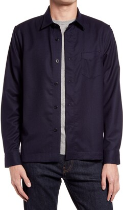 Officine Generale Solid Wool Flannel Button-Up Shirt