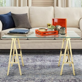 """Everly Bartow Desk Quinn Color (Frame): Gold, Size: 30"""" H x 71"""" W x 36"""" D"""