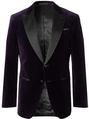 HUGO BOSS Purple Helward Slim-Fit Satin-Trimmed Cotton-Velvet Tuxedo Jacket