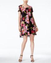Connected Petite Floral-Print Flyaway Shift Dress