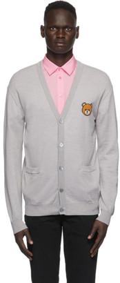 Moschino Grey Wool Teddy Cardigan