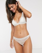 Cotton On Cotton:On Lottie and satin lace g-string brief in beige
