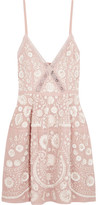 Needle & Thread Crochet-trimmed Embellished Embroidered Crepe Mini Dress - Pink