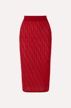 Fendi Intarsia-knit Cotton-blend Midi Skirt - Red