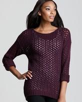 Sweater - Marled Open Knit Crewneck