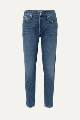 A Gold E Agolde AGOLDE - Jamie Cropped Frayed Organic High-rise Straight-leg Jeans - Dark denim