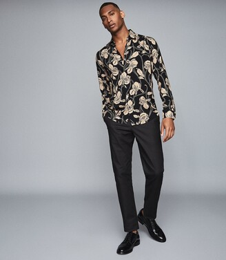 Reiss Brave - Floral Printed Shirt in Black