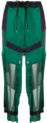 Sacai Organza-Panel Satin Cargo Trousers
