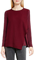 Vince Camuto Top with Asymmetrical Chiffon Overlay