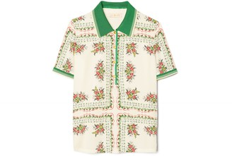 Tory Burch Silk-Front Polo Shirt