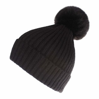Yivise Womens Winter Warm Hat Bobble Pompom Hairball Baggy Crochet Knitted Hat Beanie Caps(Black)