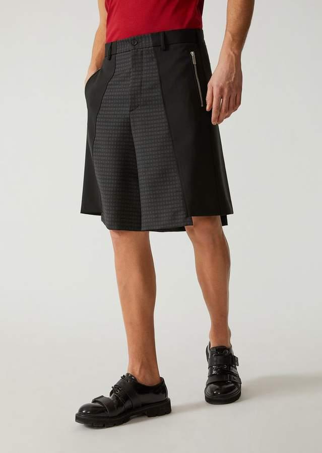 Emporio Armani Asymmetric Bermuda Shorts In Jacquard