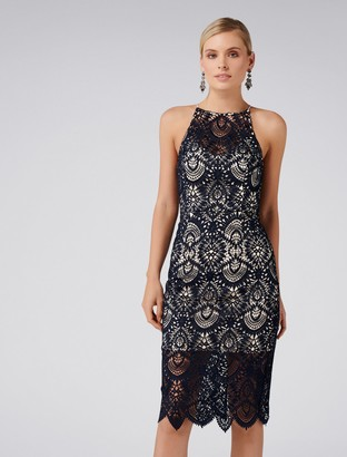 Forever New Nadia Lace Pencil Dress - Navy - 4