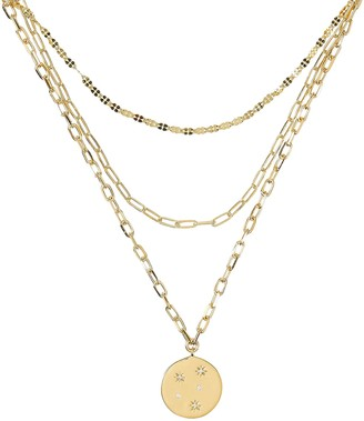 ela rae Starburst Triple Layered Chain Necklace
