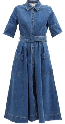 Co Belted Cotton-blend Denim Dress - Blue