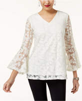 Alfani Petite Bell-Sleeve Burnout Top, Created for Macy's