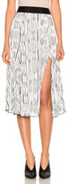 Prabal Gurung Wavy Rib Jersey Pleated Skirt in Black,Stripes,White.