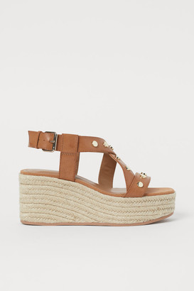 H&M Wedge-heeled Sandals - Beige