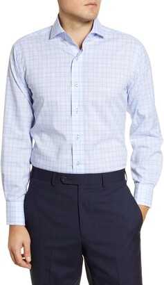 Lorenzo Uomo Trim Fit Easy Iron Plaid Dress Shirt