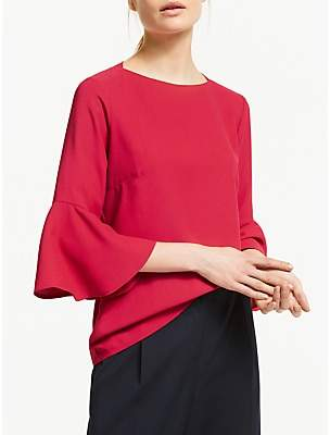 Finery Begonia Flute Sleeve Top, Red